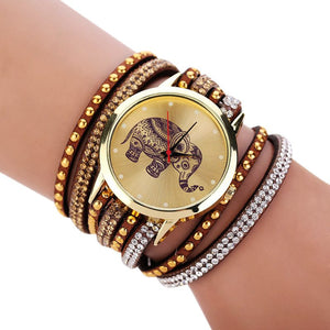 8 Colors Fashion Bracelet Watch Woman luxury brand watches Elephant geneva watch women Round Diamond Jewelry Quartz Wrist Watch
