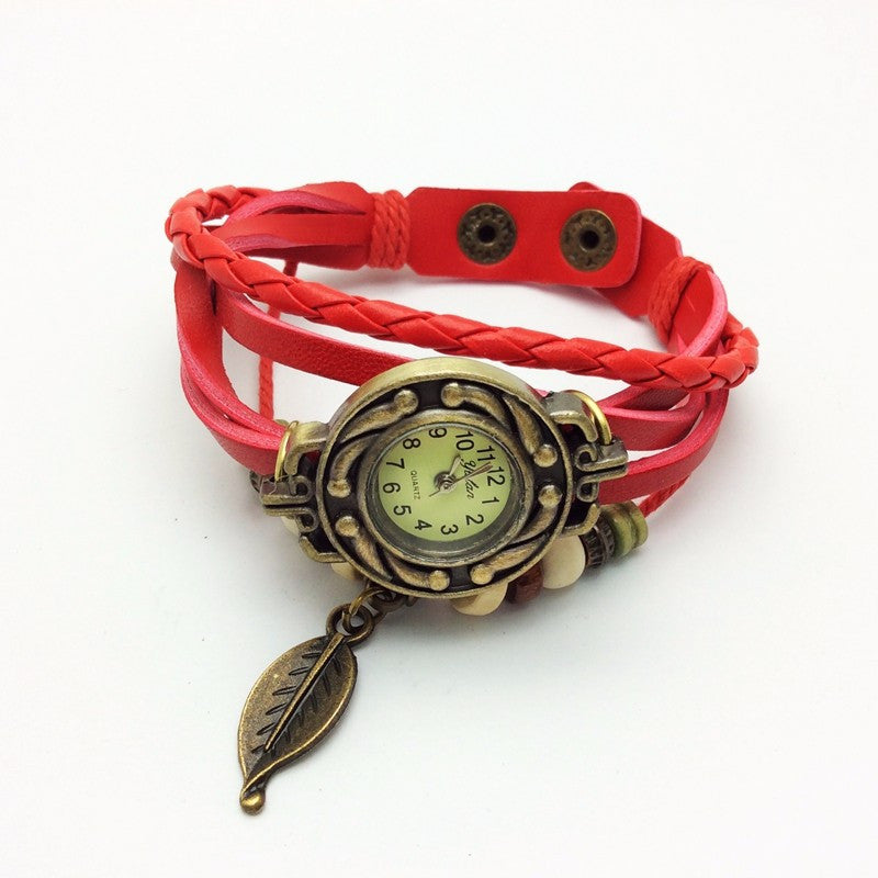 Best Selling Women Leather Bracelet Watch Women Dress Watches leaf Pendant Vintage Quartz Analog WristWatch No.1