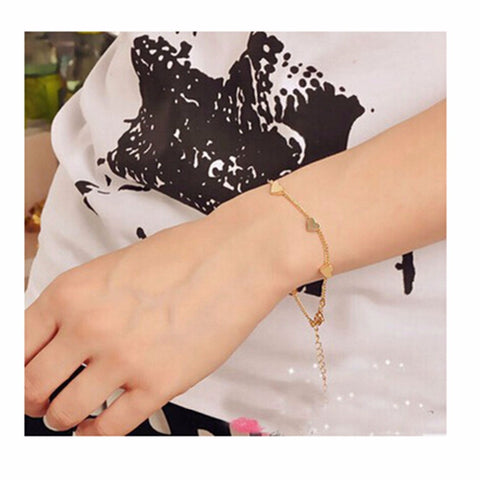 L151 Hot Fashion Bijoux Cheap Charm 14K Gold Plated Heart Bracelets New 2016 Men and Women Bangle Wedding Jewelry One Direction