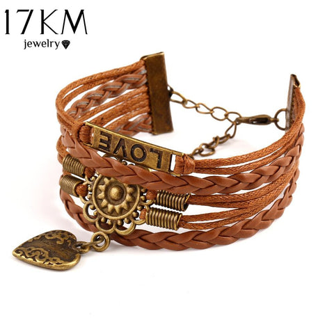 Vintage Alloy Flower Heart Buckle Mens Leather Woven Bracelets LOVE Multilayer Faux Bracelets Summer Style Women Jewellry CS16