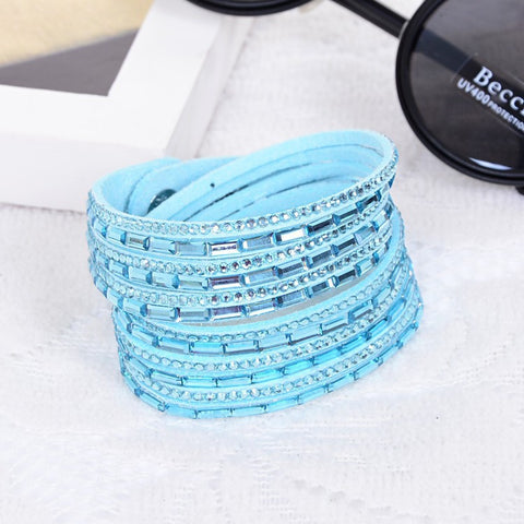 Wrap Bracelet Slake Style Crystal Rhinestone Leather Charms Bracelet Tapered