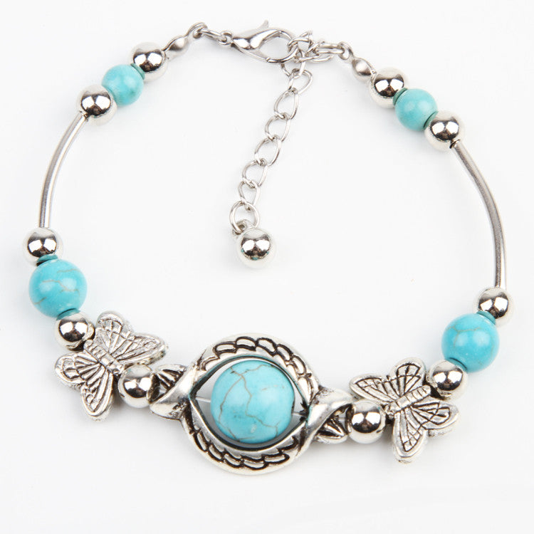New Arrive Turquoise Beads Silver Plated Butterfly Bracelet Handmade Accessories Fashion Jewelry Drop Shipping