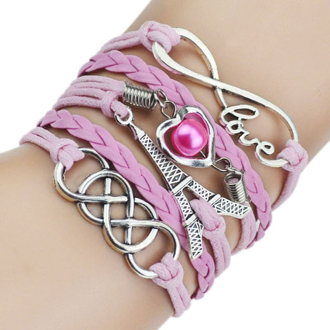 6 Color 2016 New Fashion Leather Love Bracelet Heart Eiffel Tower Bead Bracelets for Women Man Best Birthday Gift