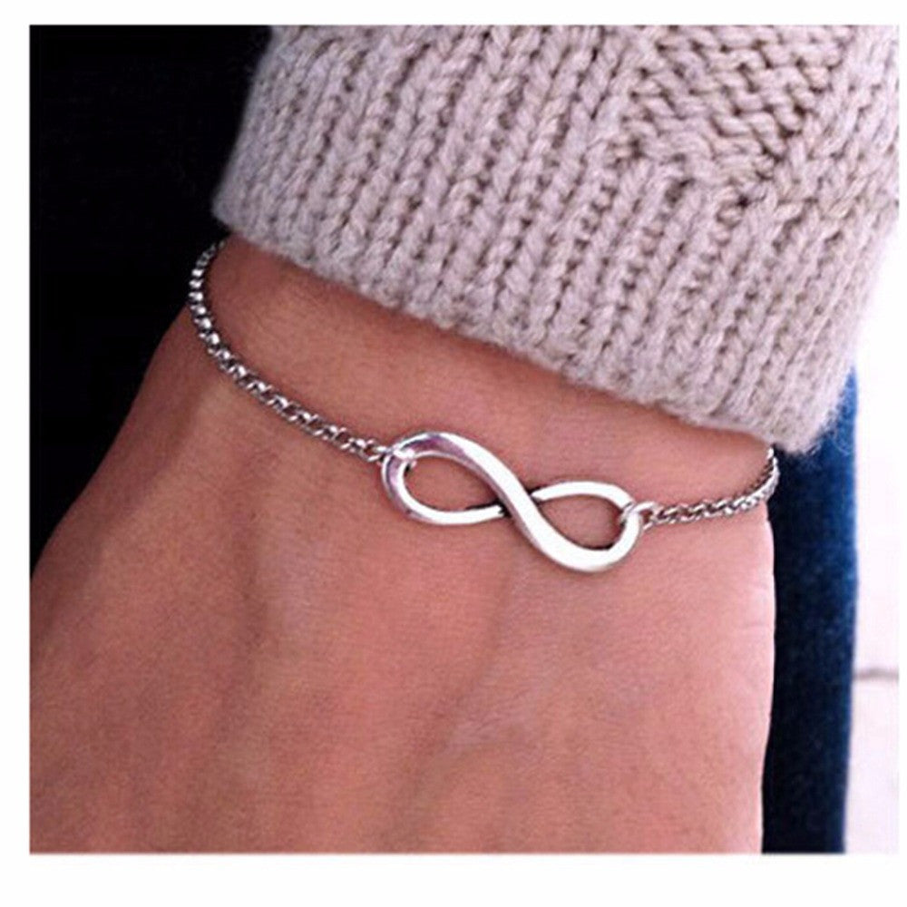 SL117 Hot Wholesale Fashion Pulseras Bijoux 2016 New Women 8 Infinity Bracelet For Men Jewelry Gift Charm Bracelets Bangles
