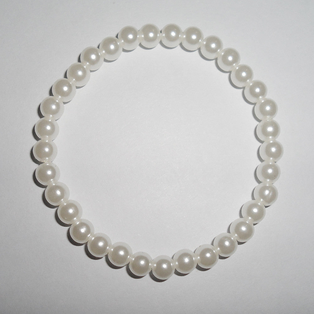 {2016 new style fashion 6mm pearl bracelet, White pearl bracelet with stretch, good quantity Imitation pearl bracelet  jewelry