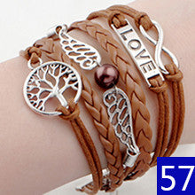 Hot Promotion Bracelets for women  Anchor and Owls Charm Bracelet Wax Cords Leather bracelet pulseras couro mens bracelets 2015