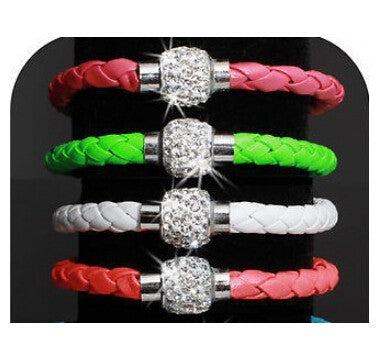p1  Hot Sale Fashion Pu Leather Wristband Cuff Punk Magnetic Rhinestone Buckle Bracelet Bangle Jewelry Drop Shipping