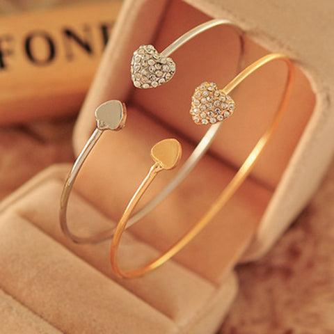 New arrival South Korea Unique woman Bangles heart love Fashion bracelet for party wedding adjusted size LVR006