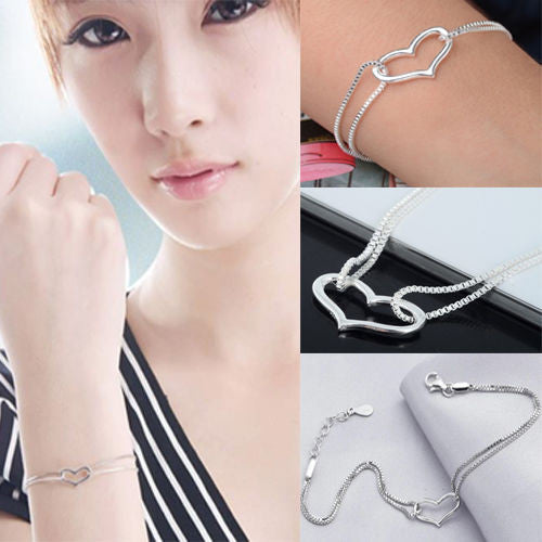 1pcs Girls Lady Silver Plated Heart Love Bracelet Silver Chain Lady Women Jewelry Gift Hot Sale