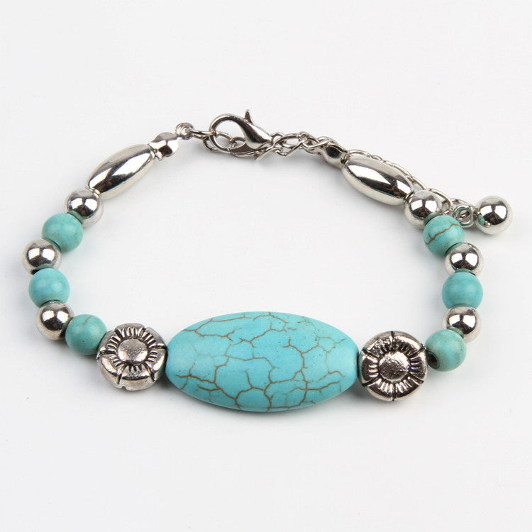 New Arrival Fashion Classic Tibetan Silver Oval Turquoise Bracelet Handmade Jewelry Gifts Drop Shipping BL-0133