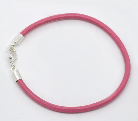 Silver Plated Lobster Clasp Pink Real Leather Bracelets Fit European Charm 20cm,sold per packet of 4 2015 new