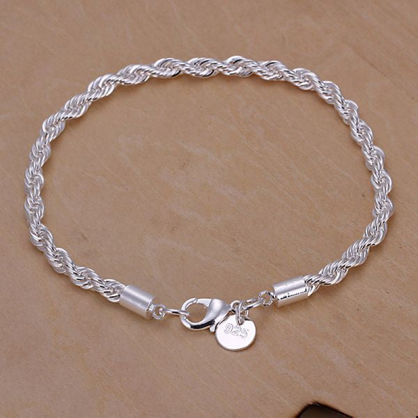 twisted ropes silver plated bracelet women wholesale jewellery mix lots pulseras vintage sale items CH318# bracelets
