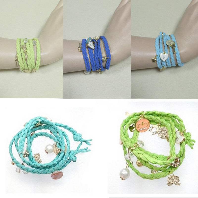 2016 new fashion multilayer braided leather bracelet retro double unlimited Crown gift for woman jewelry accessories