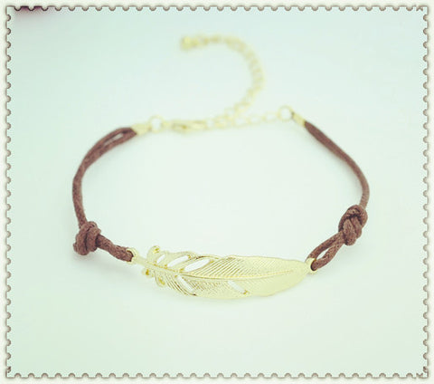 New fashion jewelry leather leaf charm bracelet gift for women girl lovers' B3099