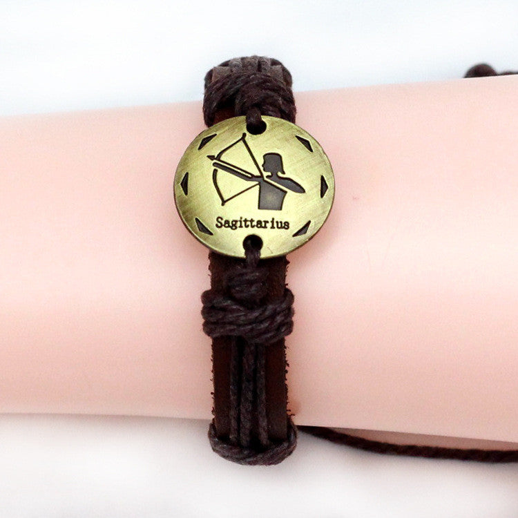 2015 fashion alloy fittings Zodiac hand-woven leather bracelet couple