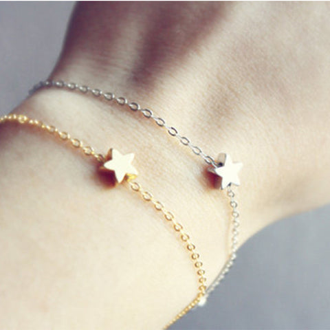 2 Pcs/Lot Fashion Simple Gold Silver Plated Star Chain Charm Bracelet Women Girl Jewelry Gift t593