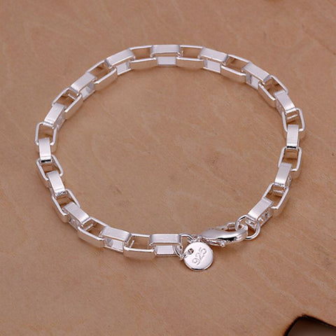H203 925 jewelry silver plated bracelet, 925-sterling-silver  fashion jewelry Big Rectangular Bracelet /aokajfra blzakdga