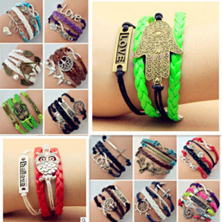 ns93 Hot Jewelry Vintage Braided Anchors Rudder Metal Leather Bracelet Multilayer Rope Bracelets Bracelets Wholesale Bangle
