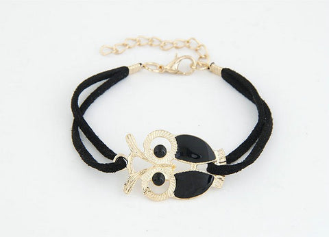 Vintage Owl Leather Bracelet Statement Accessories Jewelry, SP028