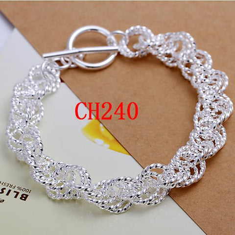 CH240   Wholesale Silver plated Bracelet,  jewelry Bracelet  with pendant for Woman Girl