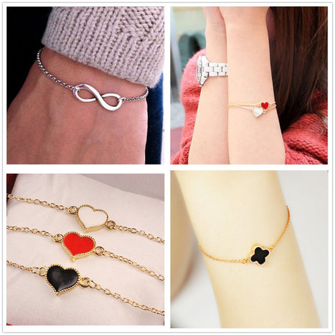 One Direction Hot Fashion New 8 Heart Bracelet For Women Wedding Jewelry Accessories Wholesale Men Bijoux Bangle Girl