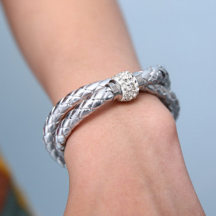 2015 Fashion Jewelry Crystal Double Leather Bracelet & Bangles For Women magnetic clasp pu bracelets pulseiras pulseras