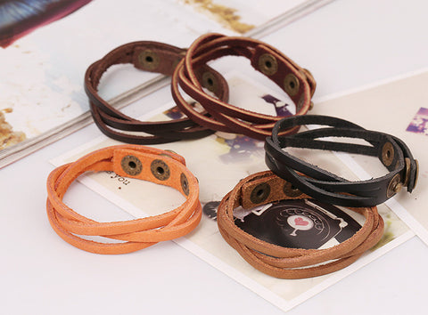 Hot Style Punk PU Leather Charming Bracelet Wrist Bands for Men Women pulseiras femininas C756-C759