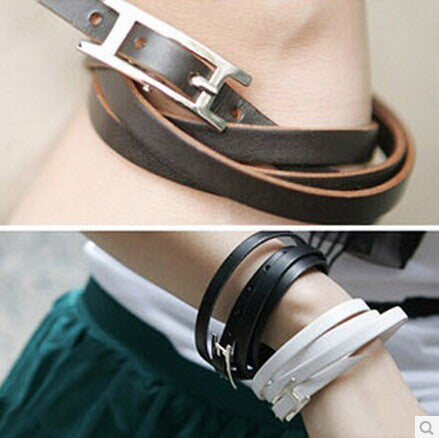 Free shipping $10 Fashion Stars Favorite Multi-Turn Cool Leather Bracelet Fashion Wild Couple Bracelet B62 7g