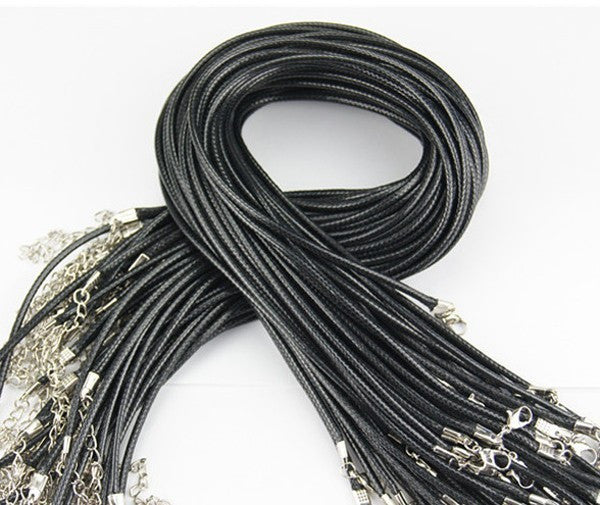 Free Shipping 1.5MM Black leather cord Bracelets with Lobster Claw Clasp and Extension Chain for Handmade Necklace 17 inches