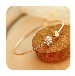 ns28  Korean version of the new jewelry with a heart-shaped pair of love crystal bracelet gold-plated bracelet female opening