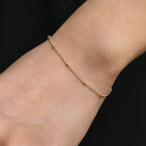 Gold Bead Bracelet, Thin Minimalist Bracelet, Dot, Tiny Dainty, Satellite Bracelet, Ftacking Bracelets for Women SH015