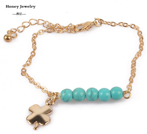 metal cross clover coin charm bracelets turquoise bead fashion popular plating gold chain Bracelet & Bangle jewelry for women