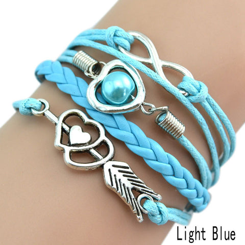 Hot Selling Lover's Multilayer Hollow Heart Shaped Braided Bracelets For Women Rope Chain 9 Colors