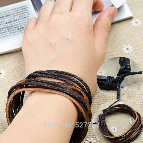 Multilayer Wrap Men's Women's Synthetic Leather Braided Rope Adjustable Bracelet Cusual Sport