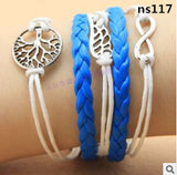 Vintage Bird Tree Anchors Rudder Rope Owls Infinity Multilayer Leather bracelet jewelry for women
