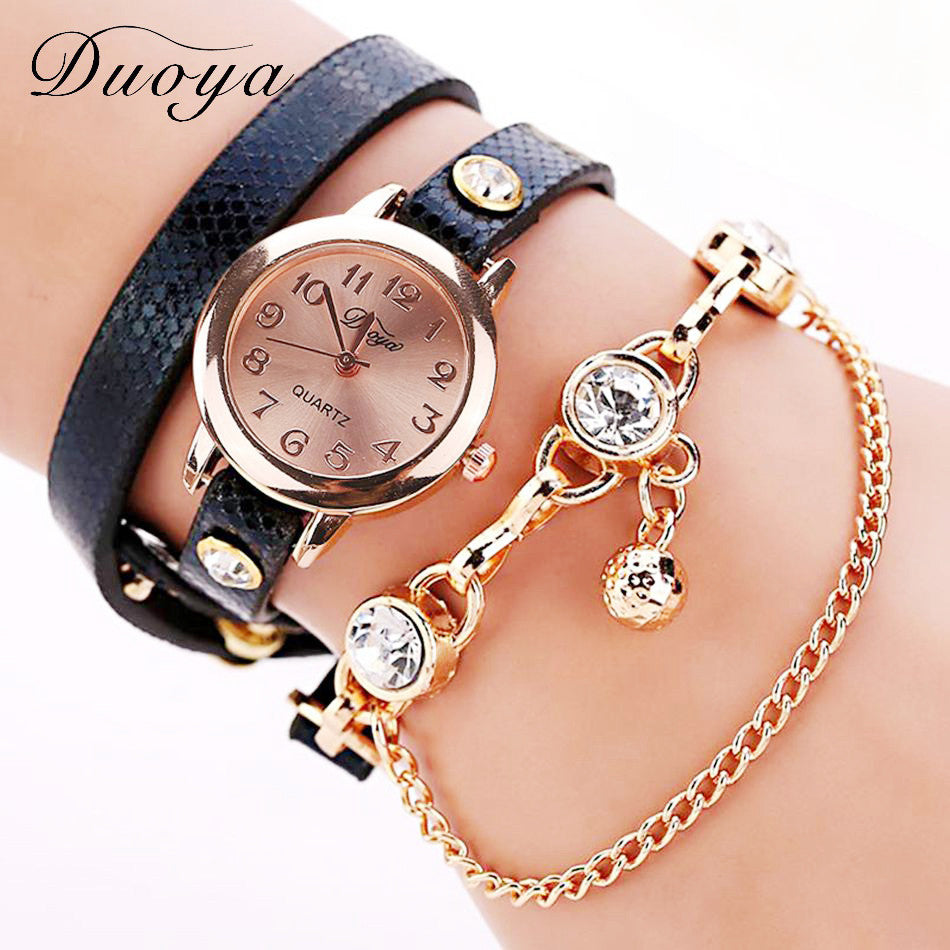 Duoya Brand Watch Women New Dress Gold Crystal Quartz Wristwatches Leather Bracelet Watch Women Luxury Gift Electronic XR956