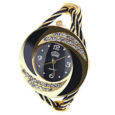 Fashion Women Round Imitation Crystal Rhinestone Decorated Bangle Cuff Analog Quartz Bracelet Watch CCi0398