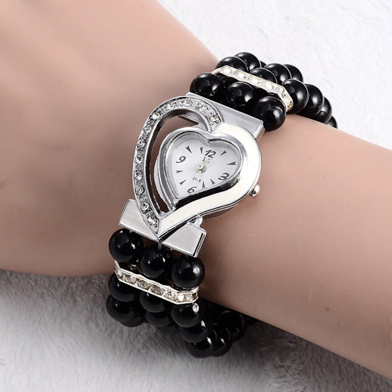 2016 New Brand Women Pearl Bracelet Watch Unique Design Heart Shape dial Fashion Ladies Dress watches relogio original