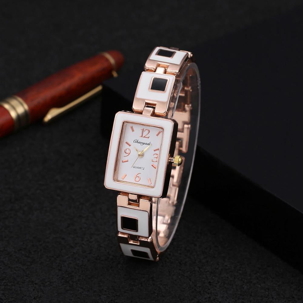 2016 Hot sale fashion Chaoyada watch women ladies square dial stainless steel band quartz watch women bracelet watch