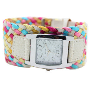 Bohemia multi-colored weaving female watch quartz watch women dress watch ladies fashion gift bracelet watch wholesale