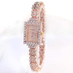 King Girl royal rose gold bracelet watch women top brand unique full crystal diamonds for ladies quartz Wristwatches