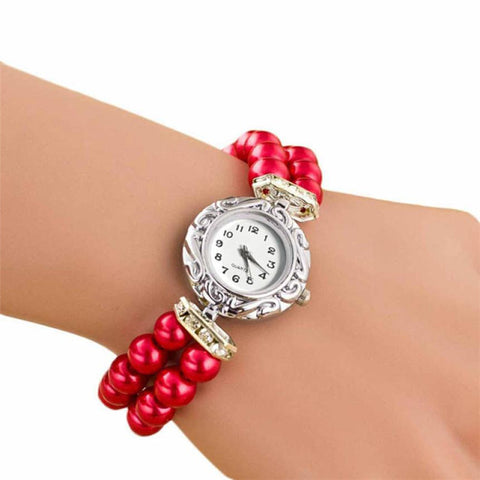 2016 New Clock  Women Girl Students Beautiful Fashion Brand New Golden Pearl Quartz Bracelet Watch relojes feminino