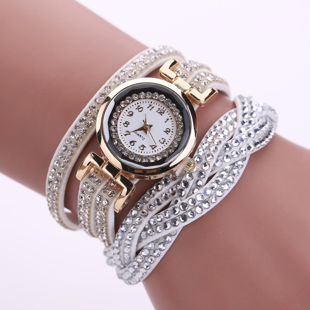 2016 New Luxury Bracelet Watch Women Casual Quartz Watch Rhinestone PU Leather Ladies Dress Watches Fashion Wristwatch Gift
