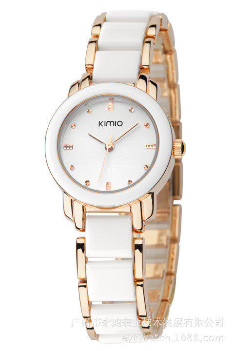 2016 New Eyki Kimio 2016 Ladies Imitation Ceramic Watch Luxury Gold Bracelet Watches with Fine Alloy Strap Women Dress Watch