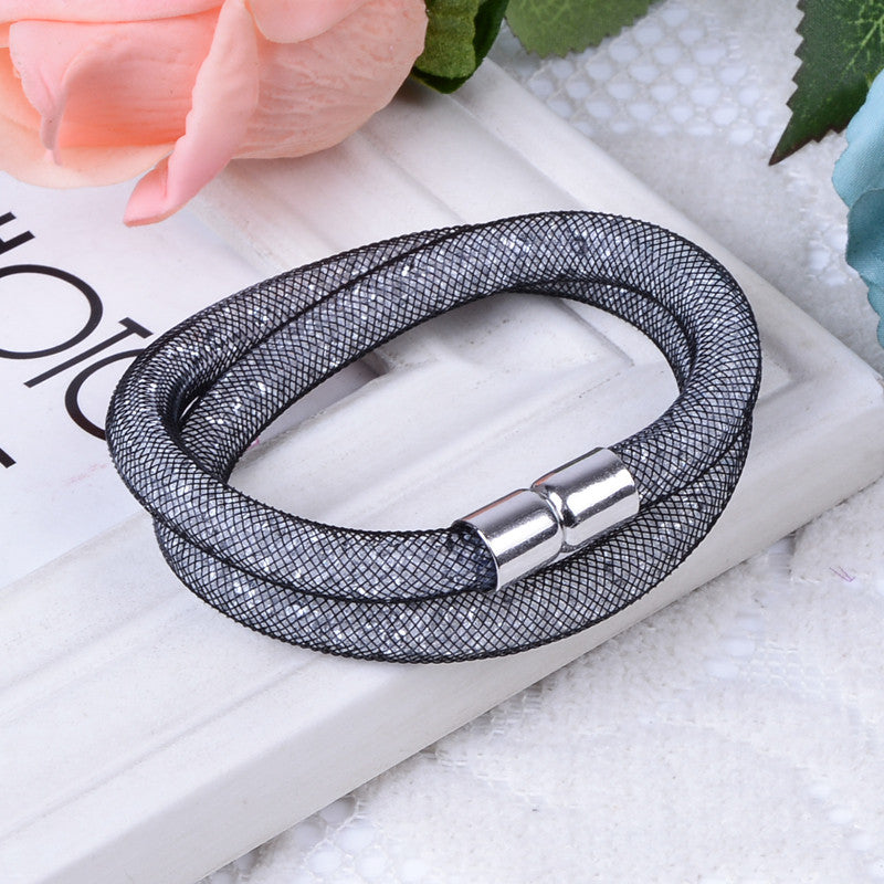 Hot sale Mesh Double Stardust Bracelets With Crystal stones Filled Magnetic Clasp Charm Bracelets