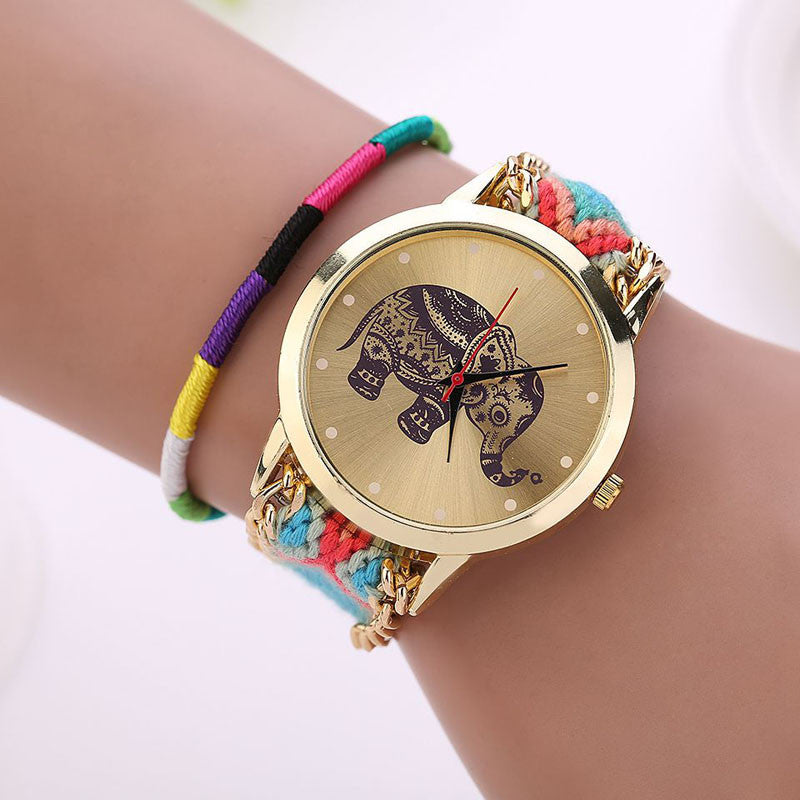 Fashion Women Girl Handmade Weaved Braided Elephant Bracelet Watch Dial Ladies Quarzt Watch Montre femme Relojes Mujer 2016