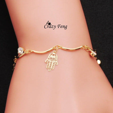 Free shipping Crazy Feng wholesale Brand New HOT sale fashion chain women jewelry charm bracelet & bangles for women