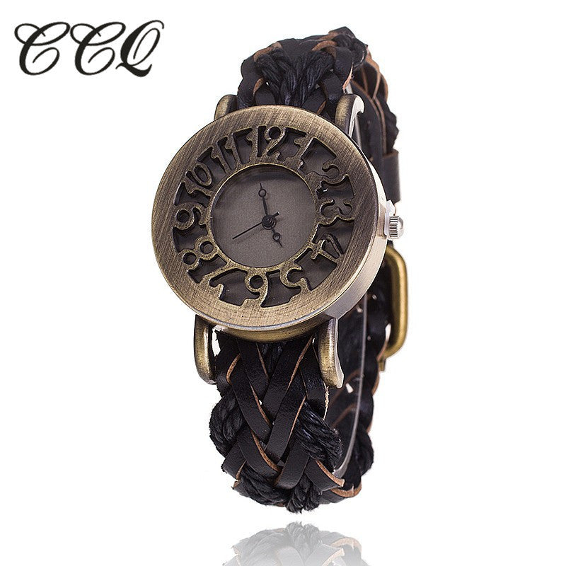 CCQ Women Vintage Quartz Watches Cow Leather Bracelet Watches Braided Women Dress Watches  Relogio Feminino 1277