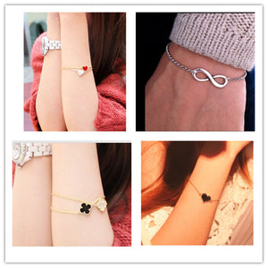 L077 Hot New 2015 Cheap Official Men Bijoux 8 Infinity Heart Bracelet For Women Jewelry Accessories Wholesale Bangles Bijoux