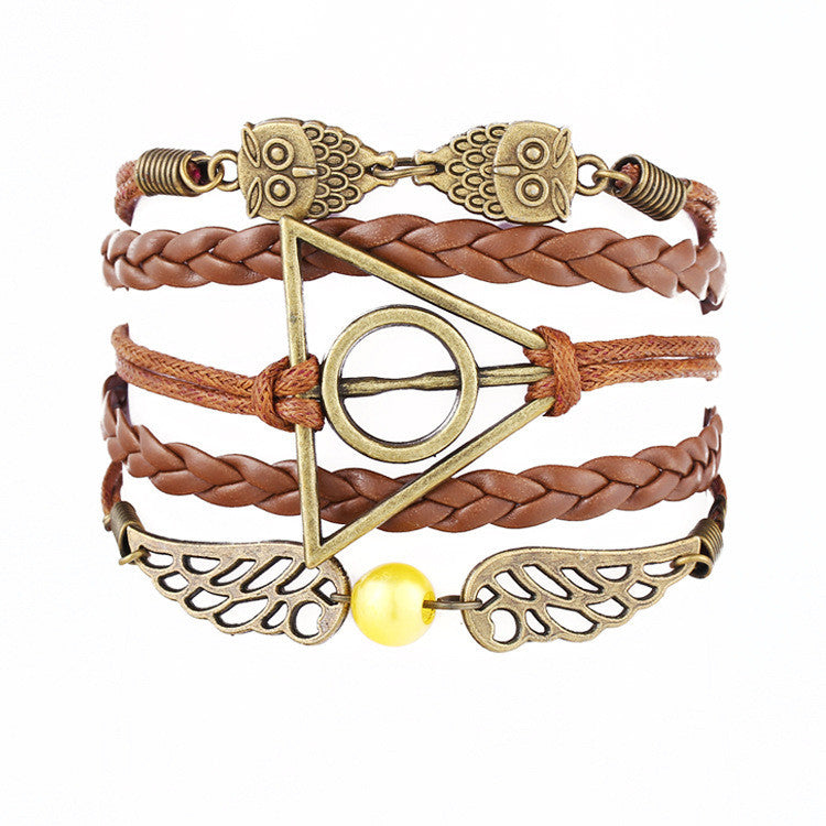 Fine Jewelry Multilayer Leather Bracelet  Fashion Mask Jesus Anchors Infinity Heart Owl Wings Charm Bracelets Pulseira